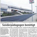 Sonderpädagogen benötigt - Quelle: Soester Anzeiger 03.11.2016